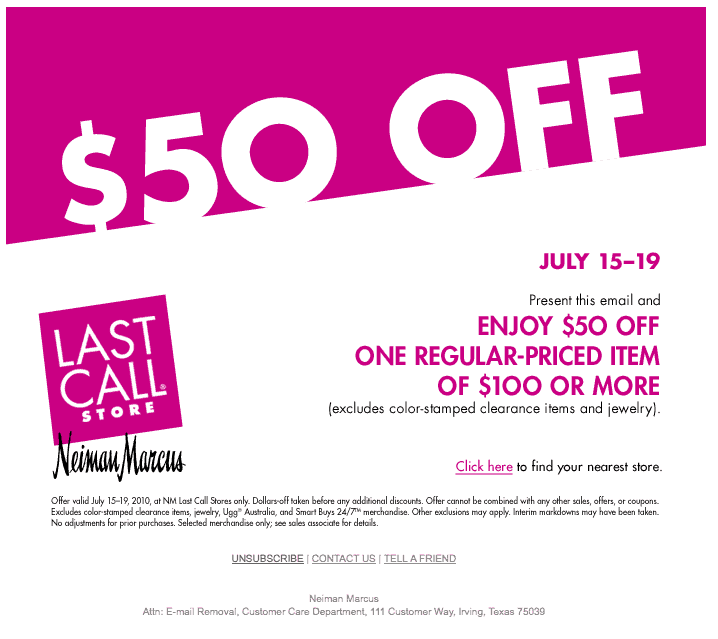 Neiman last call coupon