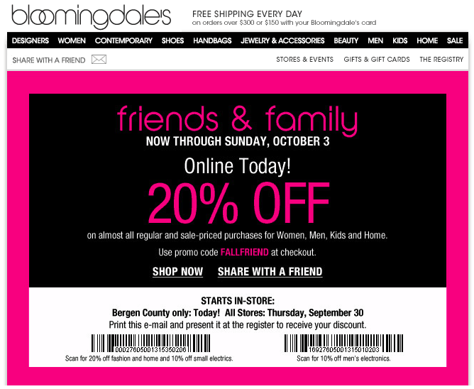 Bloomingdales friends and family coupon september 2018