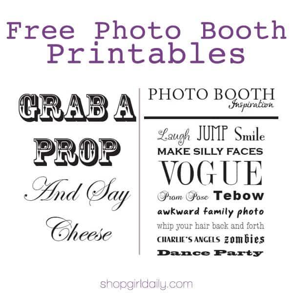 Free Photo Booth Signs | ShopGirlDaily.com