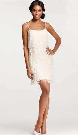 Short Wedding Dress with Fringe