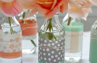Scrapbook Paper Around Glass Bottles