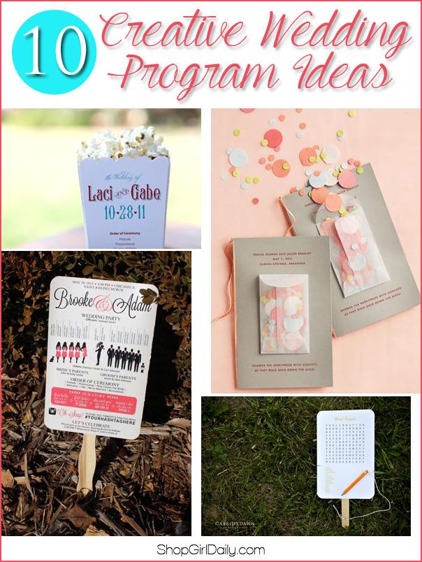 10 Creative Wedding Program Ideas | ShopGirlDaily.com