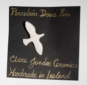 Porcelain Dove Pin from Clare Jordan Ceramics