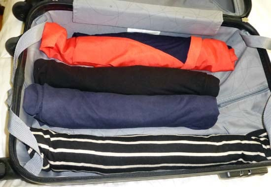 packing efficiently: roll your clothing