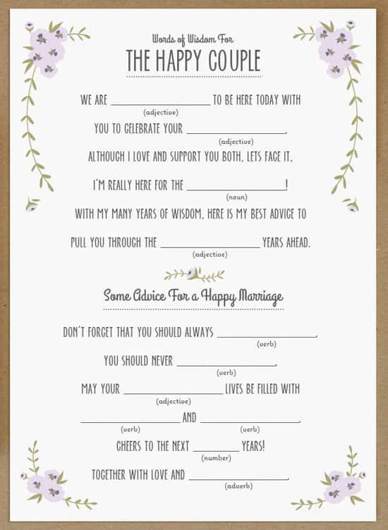 10 Creative Wedding Guest Book Ideas: Wedding Mad Libs (free printable!)