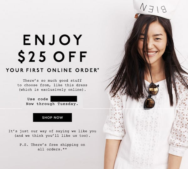 Madewell coupon code $25 off