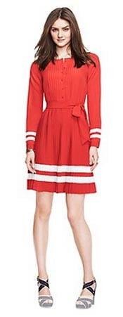 Zooey Deschanel for Tommy Hilfiger Red Pleated Dress