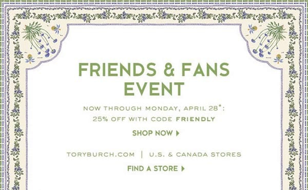 Tory Burch Friends and Fans Sale: 25% Off Everything
