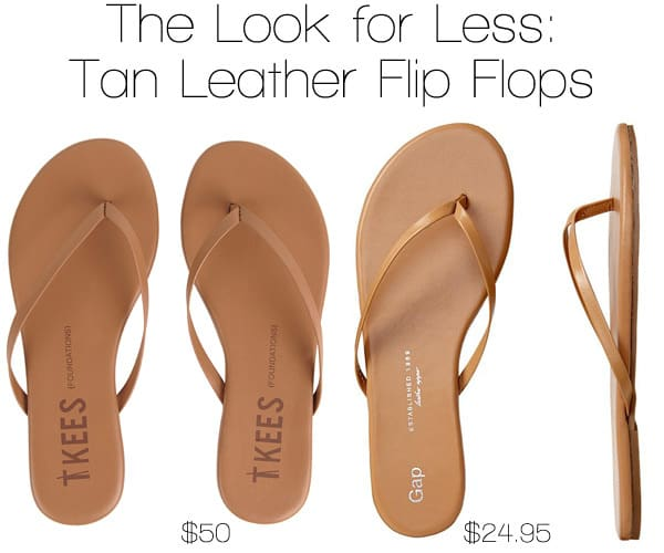 The Look for Less: Tan Leather Flip Flops