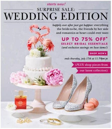 Kate Spade Surprise Wedding Sale