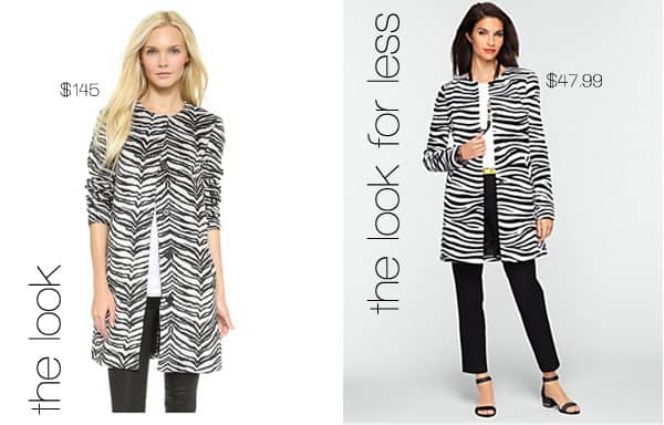 The Look for Less: Zebra Print Coat