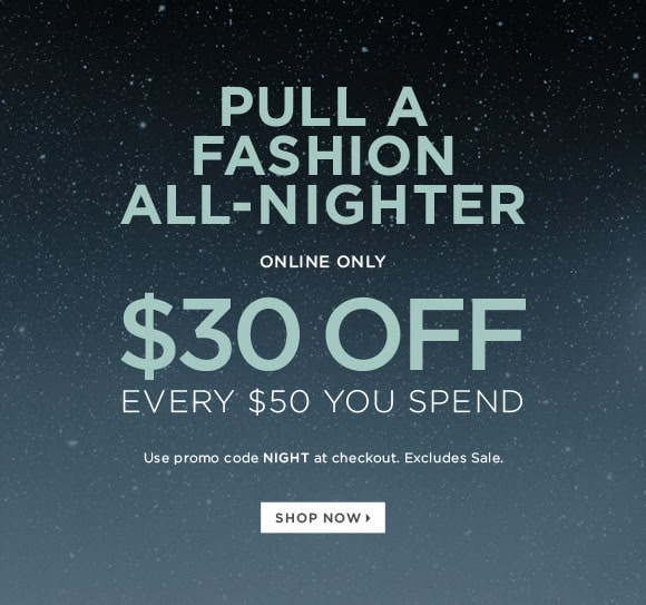 The Limited Coupon: $30 off every $50