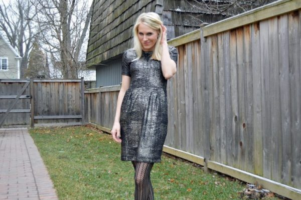Stitch Fix Review: Gold Dress with Lace Trim