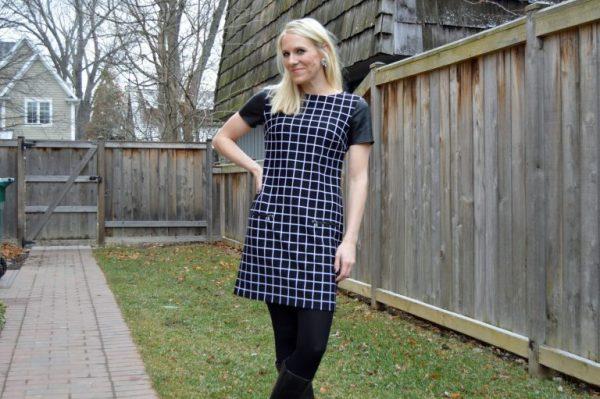Stitch Fix Review: Window Pane Dress with Leather Trim