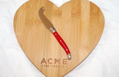 ACME Bamboo Heart Cutting Board Cheese Knife