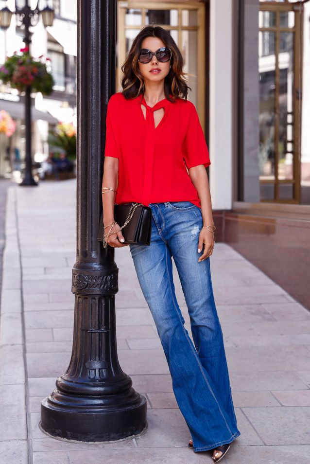 Red Tie Neck Blouse with Flares