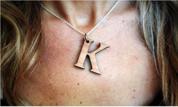 Custom Initial Wood Necklace