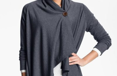 Bobeau Asymmetrical Fleece Wrap Cardigan