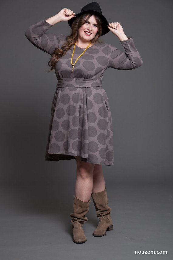Grey Polka Dots Plus Size Dress from TAPUmeyou