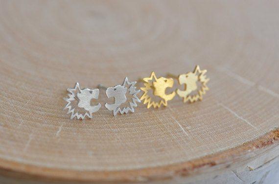Lion Earrings in Sterling Silver