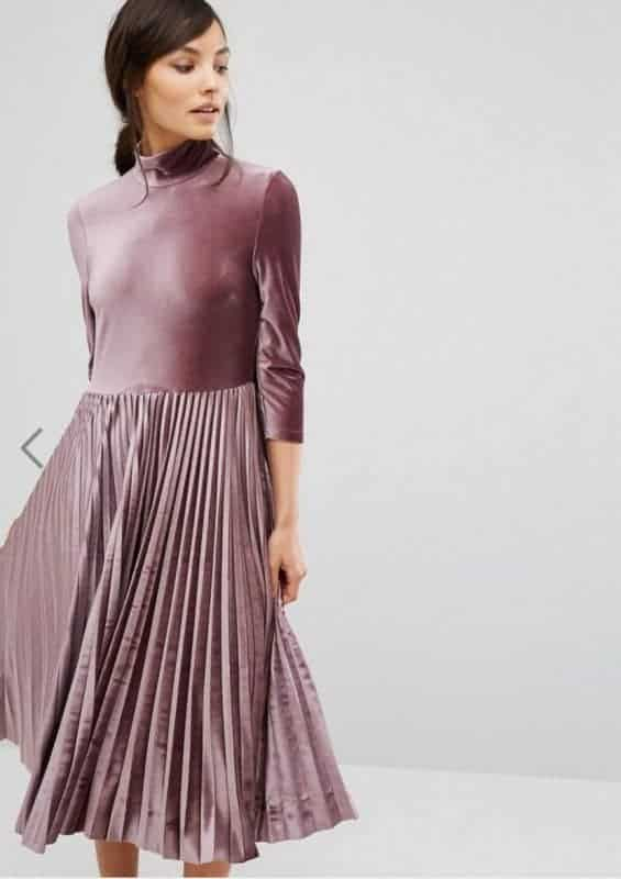 Oasis Pleated Velvet Midi Dress