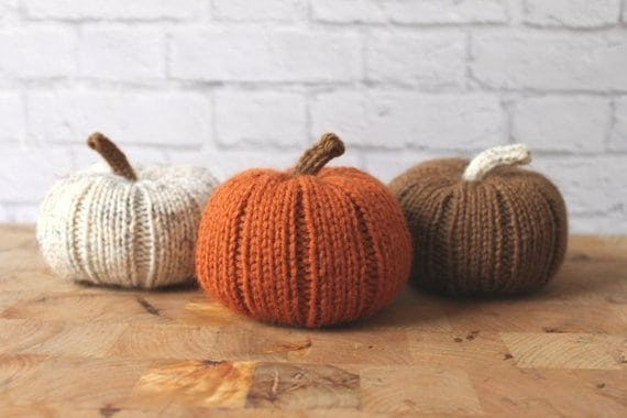 Stuffed Hand Knit Pumpkins