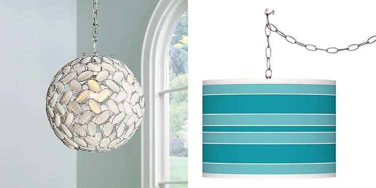 Overhead lighting without wiring: Swag Pendant Lights from Lamps Plus